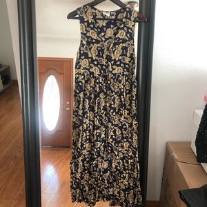 Vintage Sunflower Navy Button Down Midi Dress
